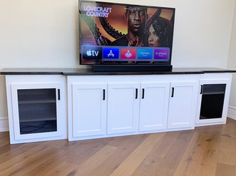 Entertainment Center w_ Metal Inserts