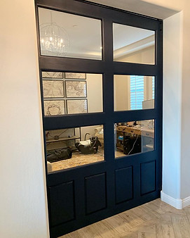 Tempered Glass Barn Door - Indigo Streamer