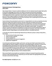 Foxconn sustainability statement