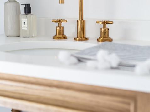Modern spa-like master bathroom design by Temecula, California based staging and interior designer Laura Lochrin Interiors.