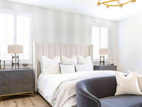 Modern master bedroom design by Temecula, California based staging and interior designer Laura Lochrin Interiors.