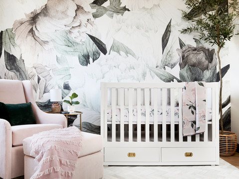 Modern and sophisticated nursery design by Temecula, California based staging and interior designer Laura Lochrin Interiors.