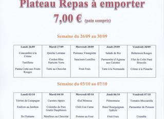 Plateau Repas du 26/09 au 07/10