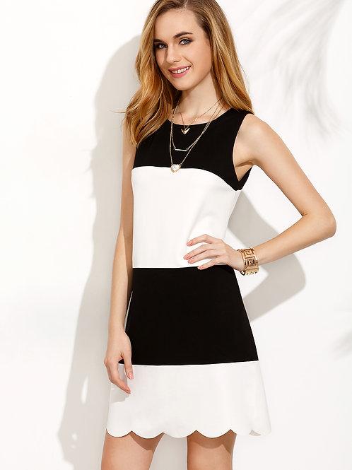24h Colorblock Scallop Hem Sleeveless Dress