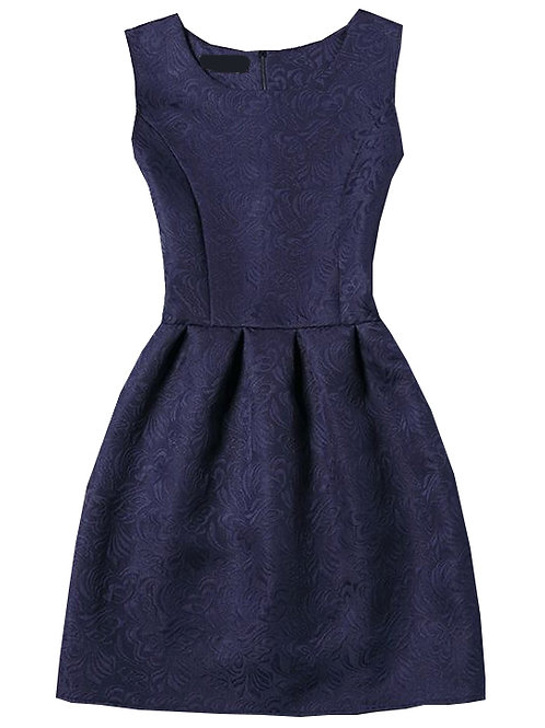 24h Navy Sleeveless Jacquard A-Line Dress