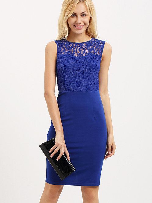 24h Blue Sleeveless Cut Out Back Sheath Dress