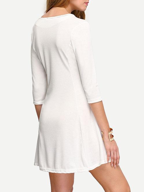 24h White A-Line Dress