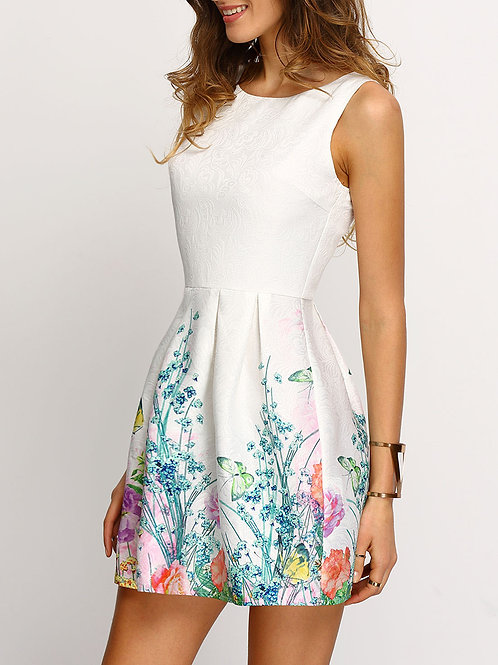 24h White Sleeveless Floral Print Smock Dress