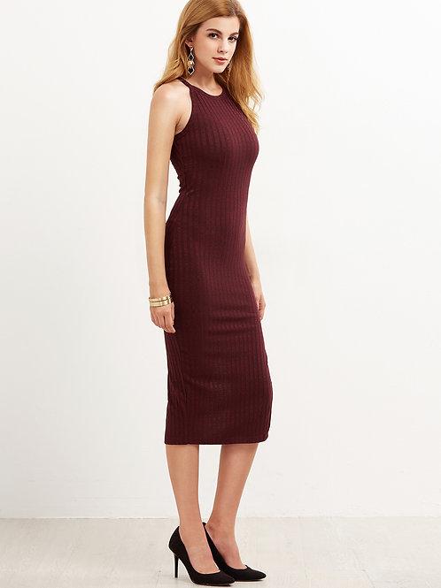 24h Burgundy Side Slit Ribbed Dress