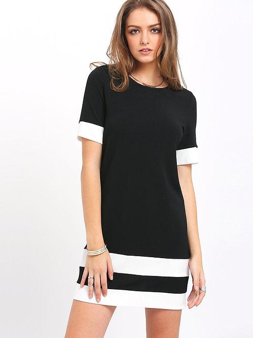 24H Black White Short Sleeve Shift Dress