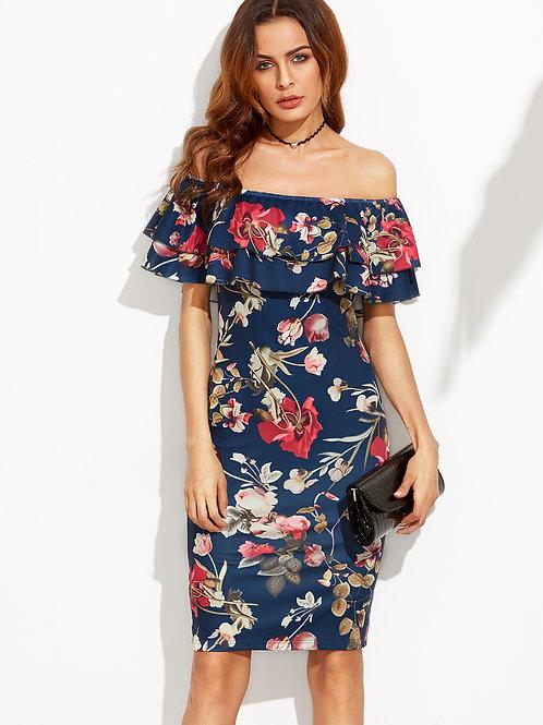 24h Floral Off The Shoulder Ruffle Sheath Dress