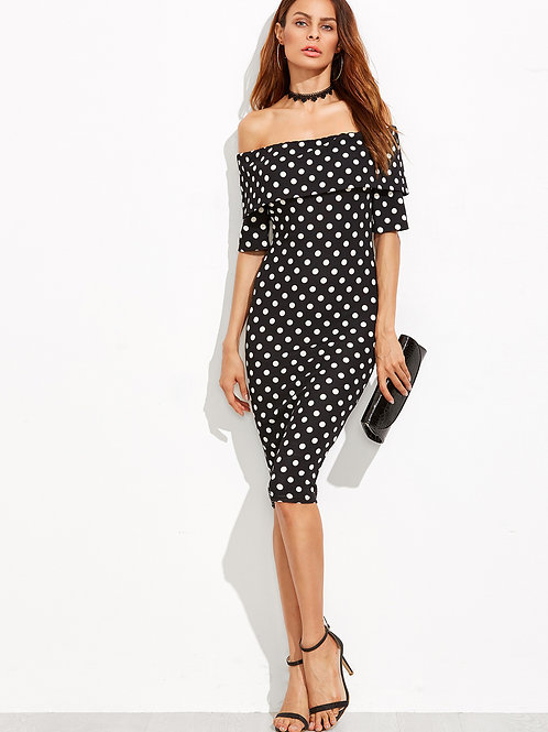 24h Black and White Dot Foldover Off The Shoulder Dress