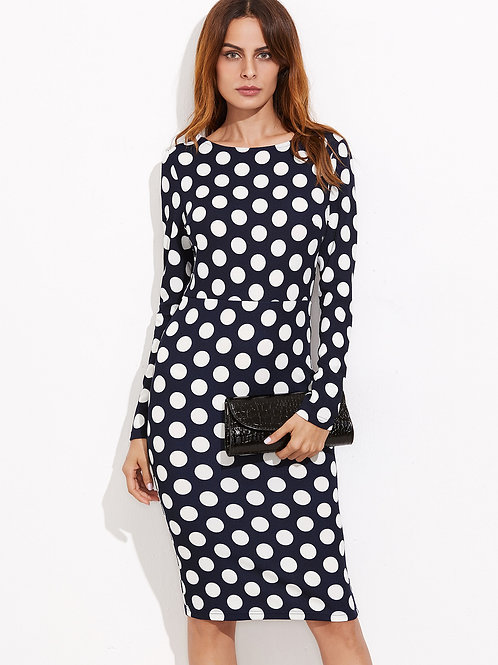24h Navy Dot Pencil Dress