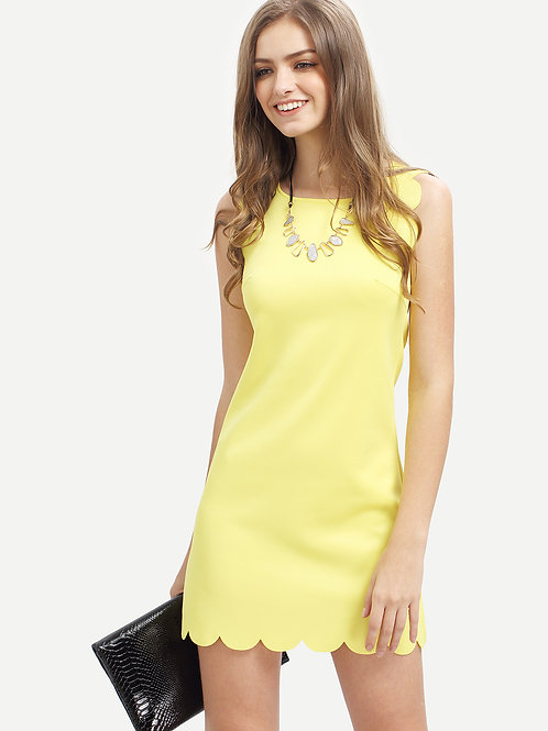 24h Yellow Crew Neck Scallapped Hem Dress