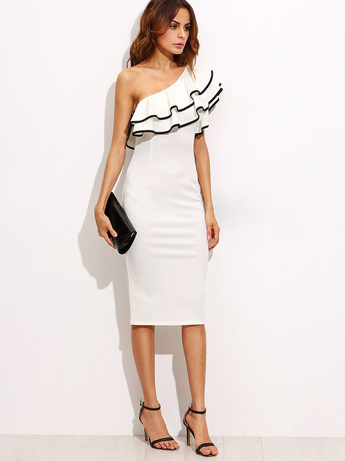 White One Shoulder Ruffle Sleeve Sheath Midi Dress