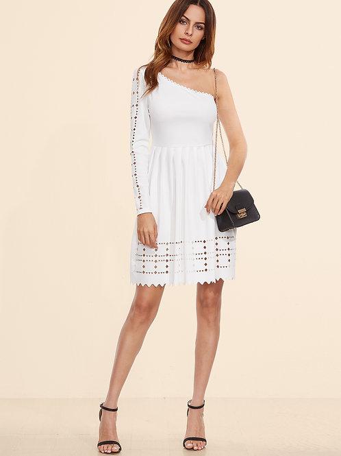 24h White Laser Cutout One Shoulder Dress