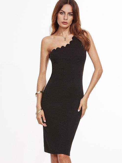 24h Black Scallop Trim One Shoulder Pencil Dress