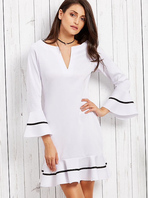 24h White Deep Notch Neck Bell Sleeve Striped Ruffle Dress