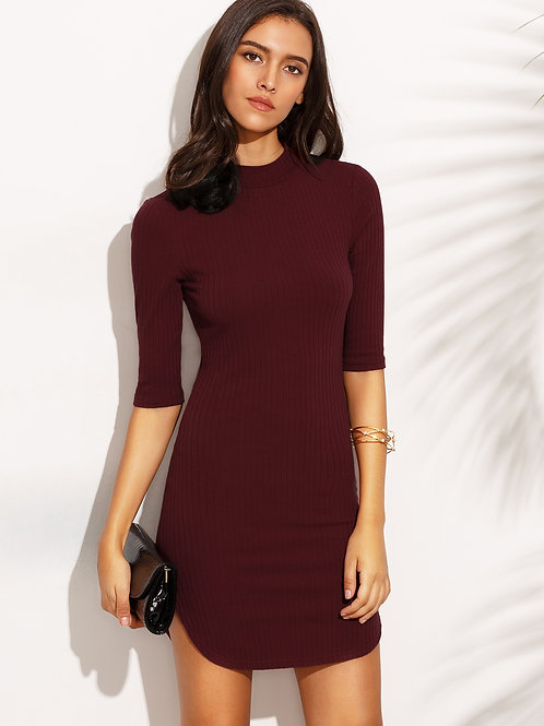 24h Burgundy High Neck Half Sleeve Sheath Dress