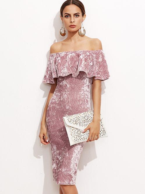 24 Pink Off The Shoulder Ruffle Sheath Dress