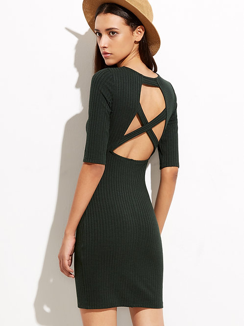24h Green Cutout  Dress