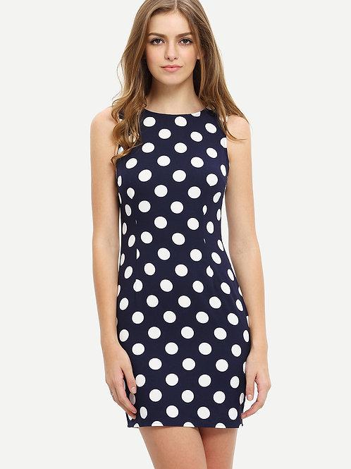 24h Royal Blue Sleeveless Polka Dot Bodycon Dress