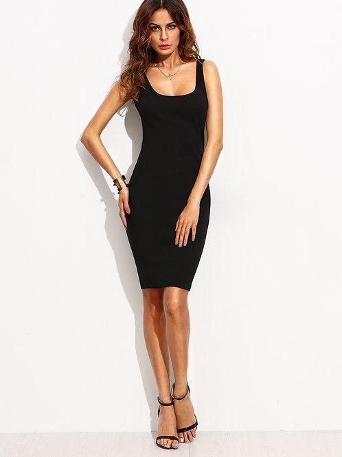 24h Black Scoop Neck Sleeveless Tank Dress