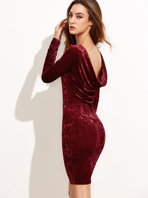 24h Burgundy Draped Back Velvet Dress