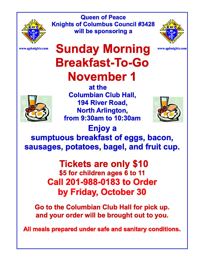 2020 KNIGHTS OF COLUMBUS BREAKFAST TO GO