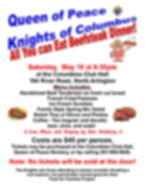 KNIGHTS OF COLUMBUS BEEFSTEAK DINNER FLY
