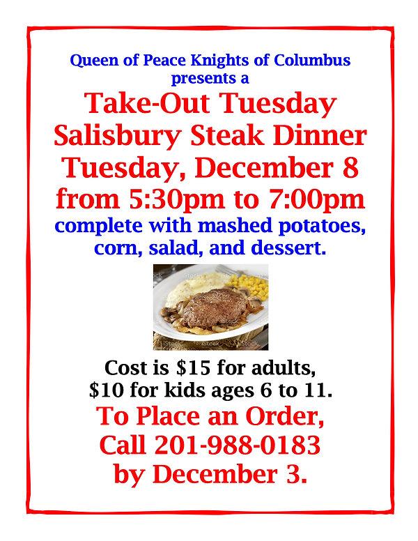 KNIGHTS OF COLUMBUS SALISBURY STEAK DINN