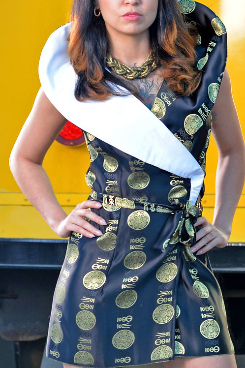 Black n Gold Asian Print Wrap Dress w/ Oversized White Collar