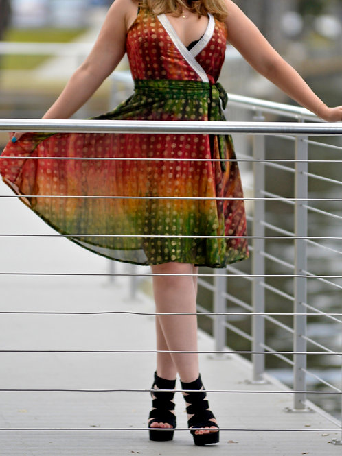 Multi-colored Rust n Green with White n Gold Trim Wrap Dress