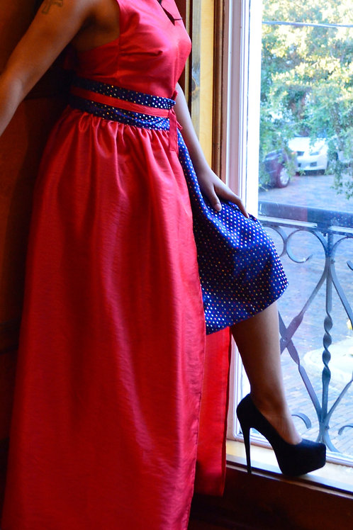 3 pc Halter, Skirt and Overskirt - Vibrant Blue with Multi-colored Dots