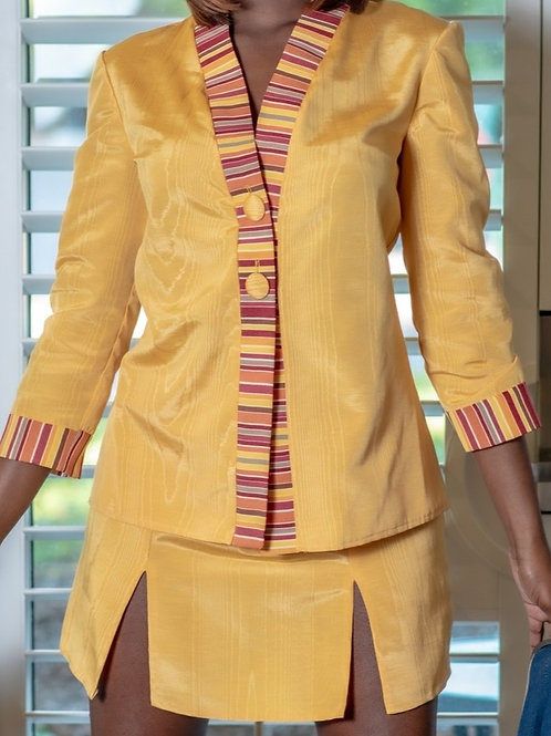 2 PC Bright Yellow Business Suit with Multi-Colored Trim