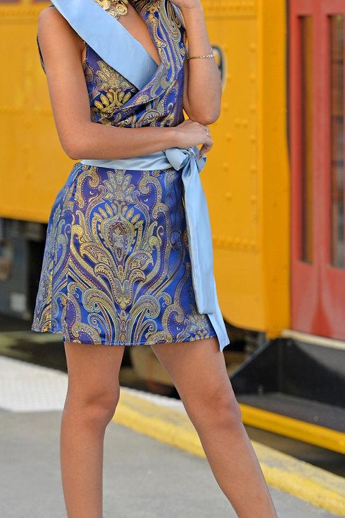 Blue and Gold Motif Satin Wrap Dress w/Light Blue Oversized Collar