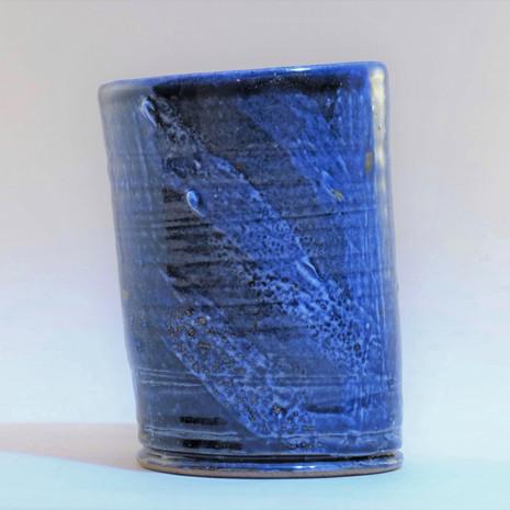 Reduced blue sloping vessel 13cm