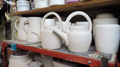 Jugs, teapots and ginger jars waiting to be glazed
