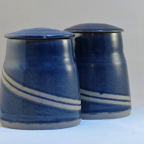 Reduced blue storage jars with masking tape design 13cm