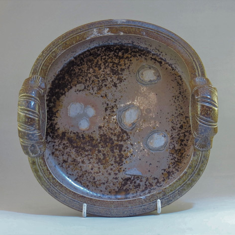 Wood fired saltglazed small dish with shell markings 20cm dia