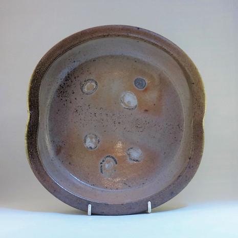 Woodfired saltglazed shell patterned platter 30cm dia