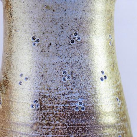 Wood fired saltglazed jug with detail