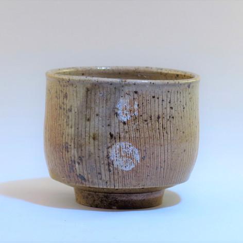 Wood fired saltglazed Yunomi fired on side with shells  8cm x 7cm