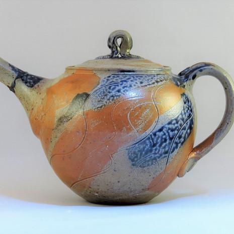 Oil fired saltglazed teapot made in Avessac France 15cm dia