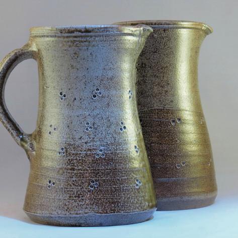Wood fired saltglazed jugs 20cm