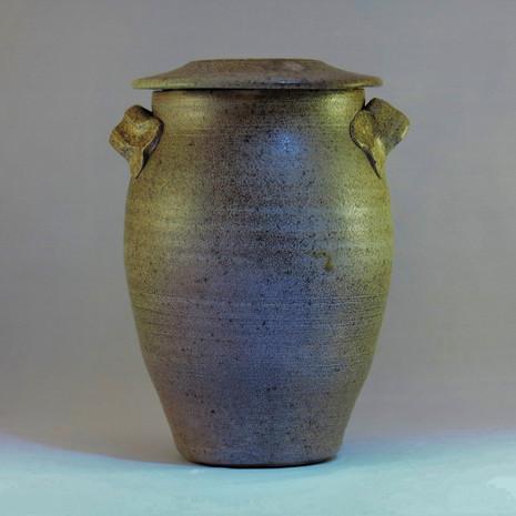 La Borne inspired wood fired saltglazed jar 23cm height