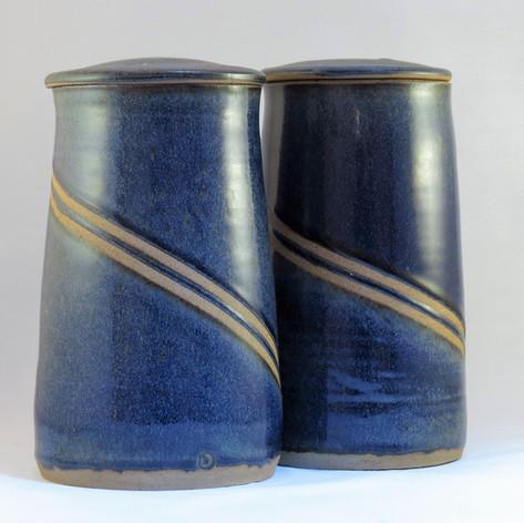 Blue reduced storage jars with masking tape resist design 22cm