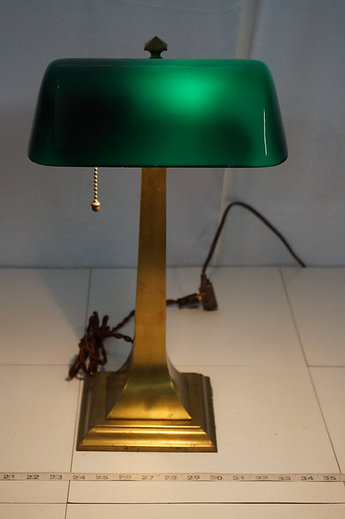 1920s Bankers Lamp With Green Cased Shade