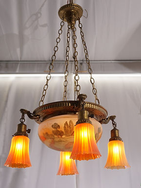 1910s 4 Light Chandelier And Matching Hand Painted Bowl