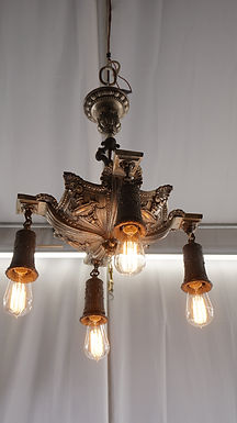 1910s Neoclassical Four Lights Chandelier - Nickel Plated